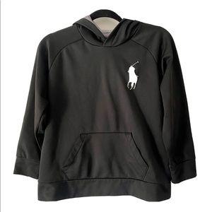 POLO RALPH LAUREN Black Big Pony Hoodie Sweatshirt Big Boys Size Medium